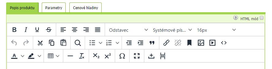 Grafické menu Tiny Editoru