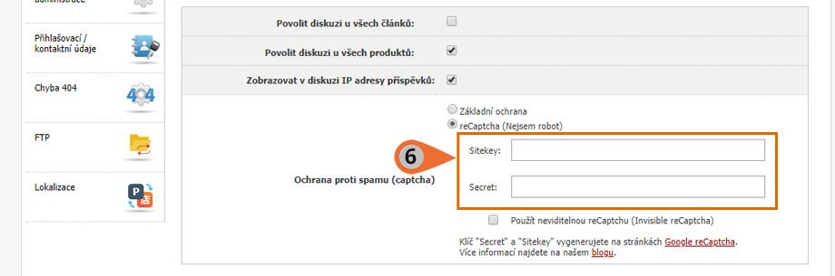 Administrace ochrany reCAPTCHA 2