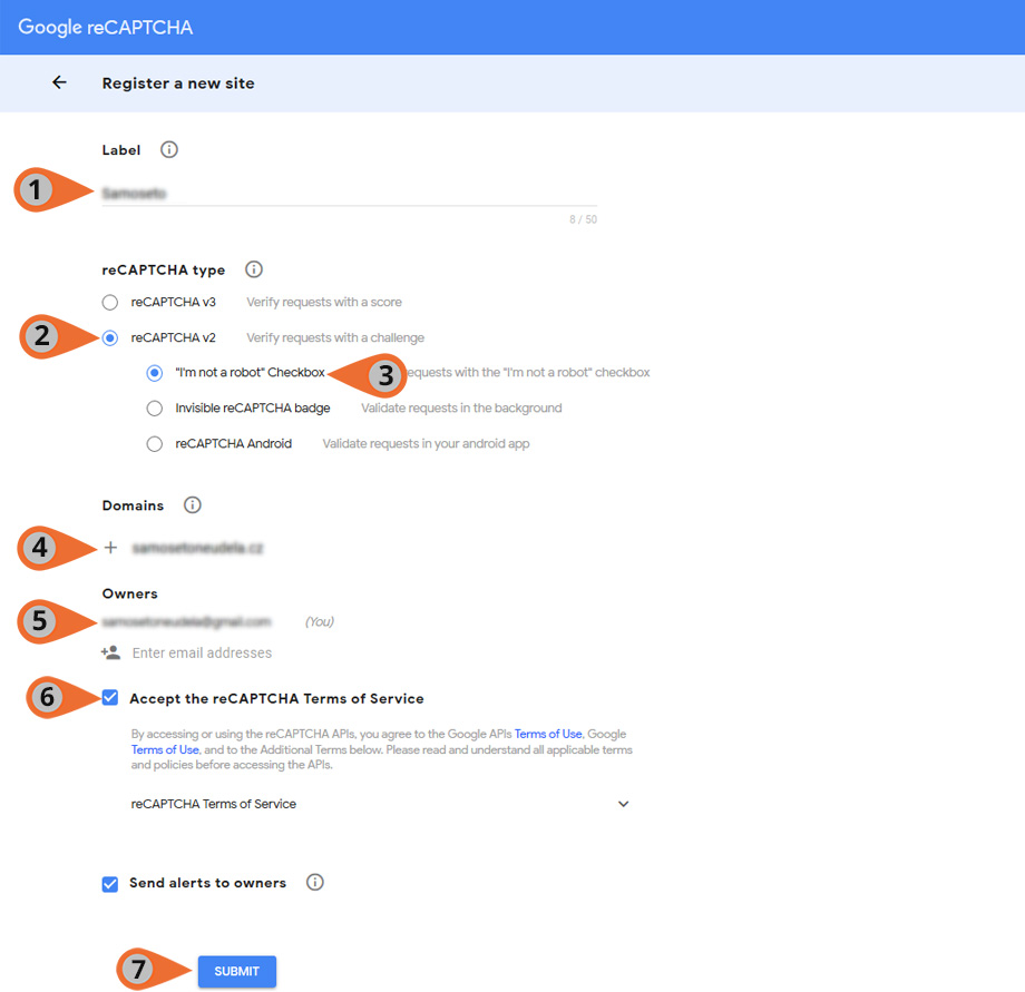 Nastavení recaptcha na Google