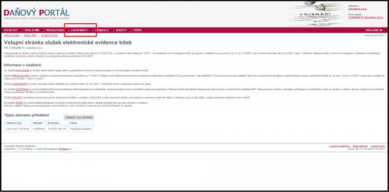 EET - Průvodce získáním certifikátu