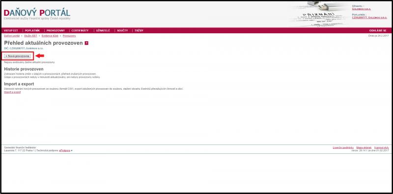EET - Průvodce registrací provozovny