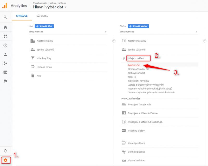 Proklikání k měřícímu kódu v Google Analytics