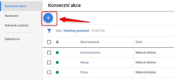 Přidání konverzní akce v Google Ads