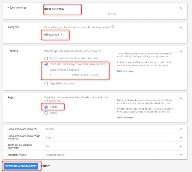 Nastavení konverzní akce v nástroji Google Ads