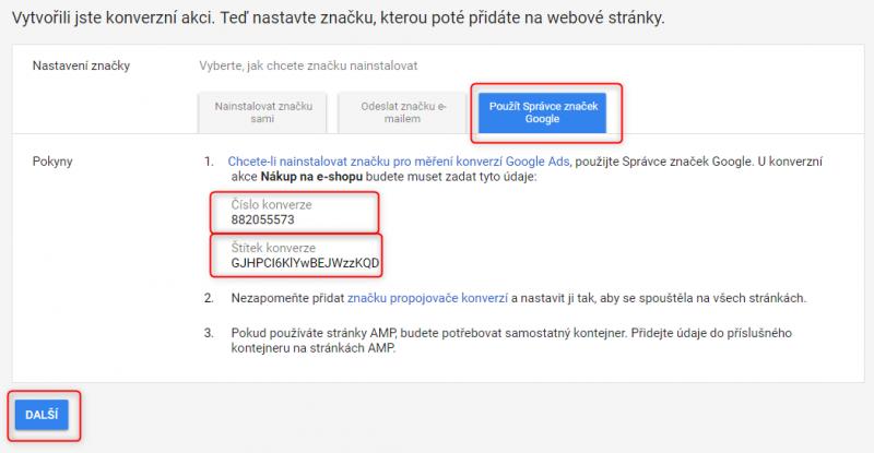 Číslo konverze a štítek konverze v nástroji Google Ads