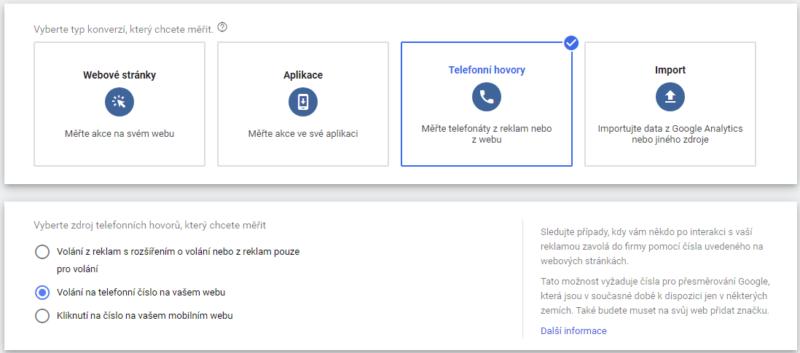 Výběr telefonické konverze volaní z webu - Google Ads
