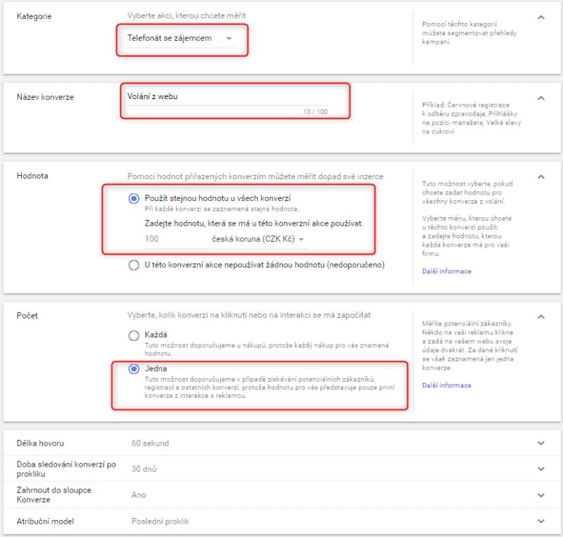 Detailní nastavení telefonické konverze na webu - Google Ads
