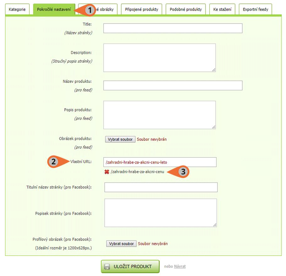 Úprava URL adresy