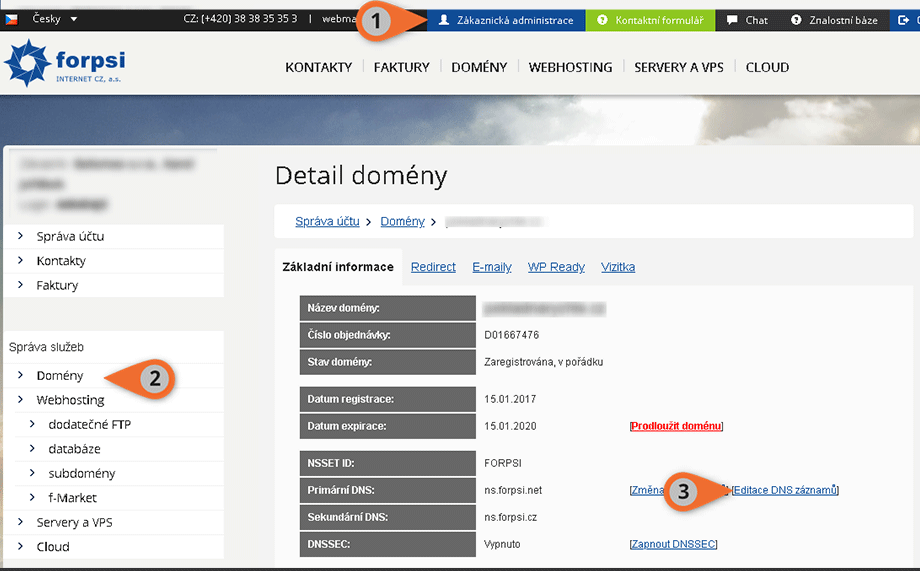Změna DNS v administraci Forpsi