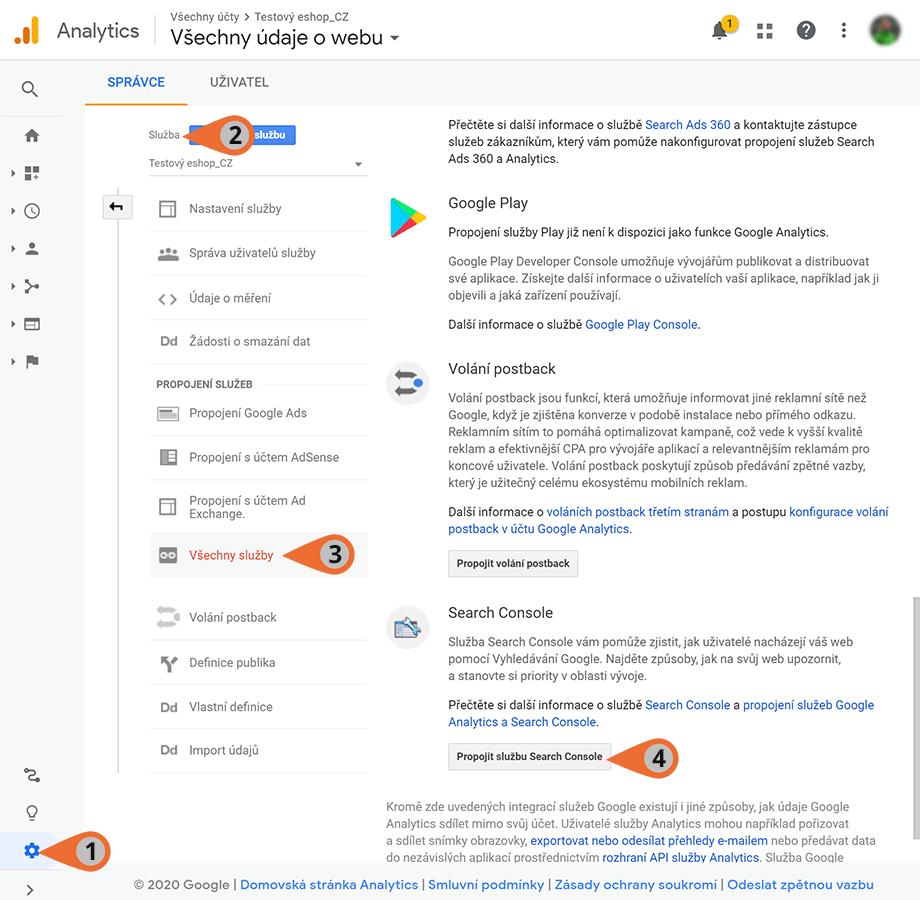 Propojení Google Analytics a Google Search Console