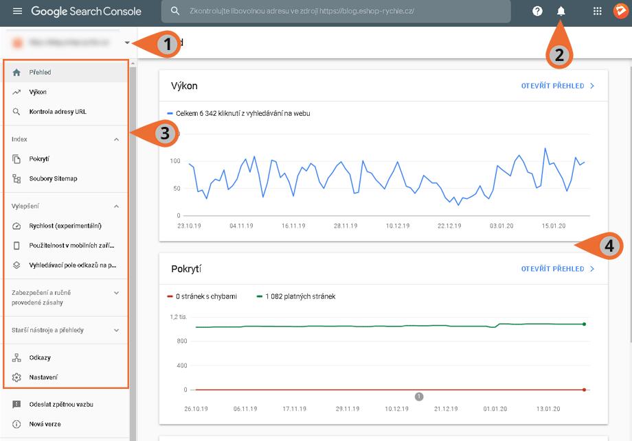 Základní přehled Google Search Console