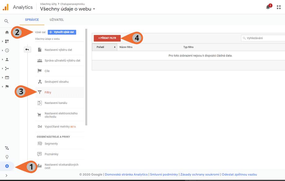 Přidání filtru v Google Analytics
