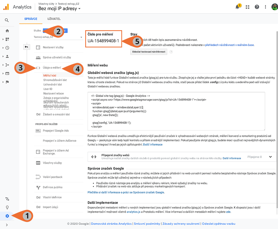 Propojení Eshopu a Google Analytics