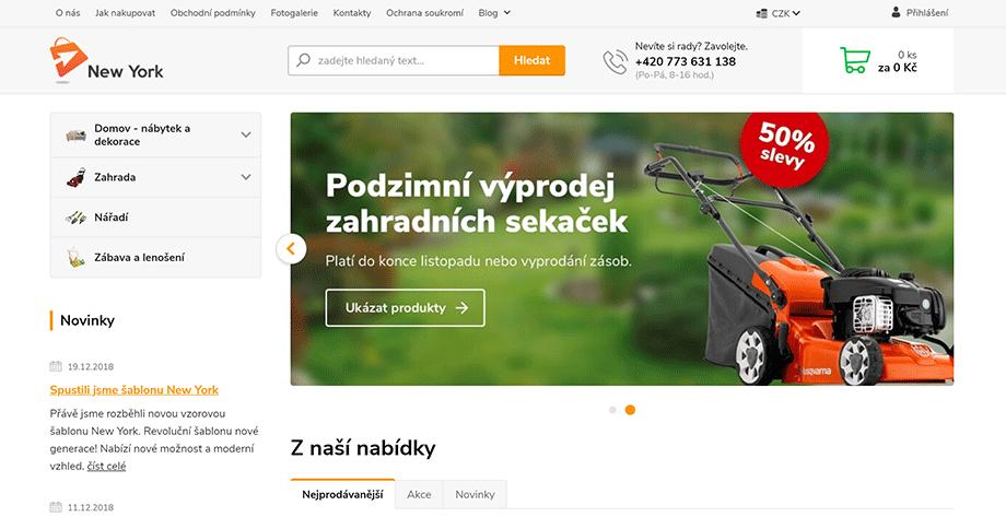 Ukázka rotátoru na hlavní straně e-shopu