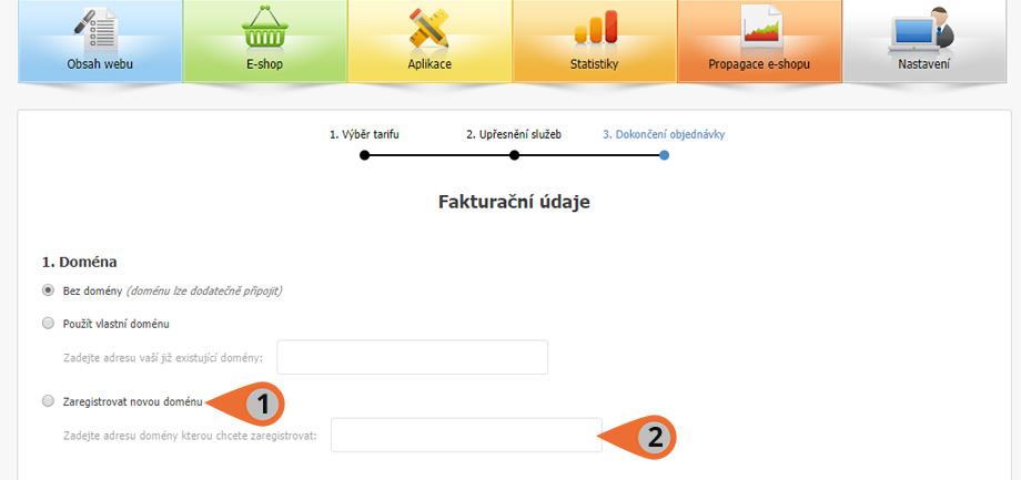 Registrace domény při zakoupení e-shopu